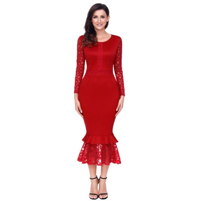 Red Hollow-out Long Sleeve Lace Ruffle Bodycon Midi Dress