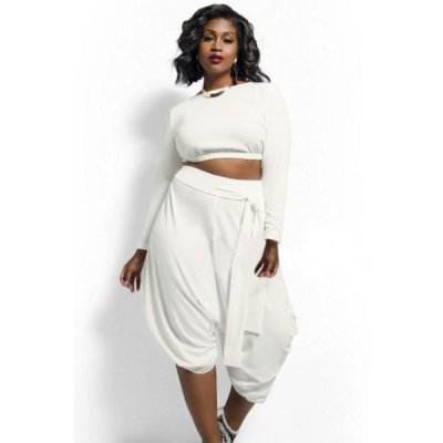 White Plus Size Crop Top Draped Convertible Pants Set