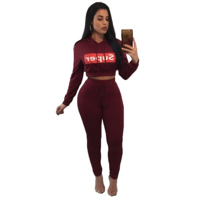 Burgundy Super Hooded Crop Top Skinny Jogger Pant Set