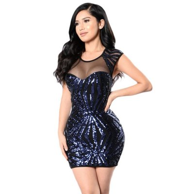 Navy Sequin Mesh Cutout Sexy Club Dress