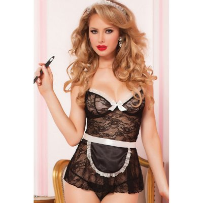 Black Sexy 4pcs House Call Babydoll Set