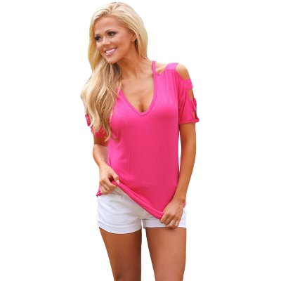 Rosy Cold Shoulder Ruched Sides T-shirt