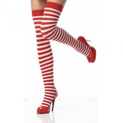 Black and white stripe thigh high Christmas stockings.
