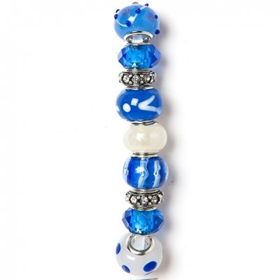 Holiday strung beads, blue Spot- 9PC