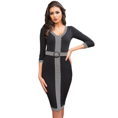 Black Houndstooth Detail Bodycon Midi Dress
