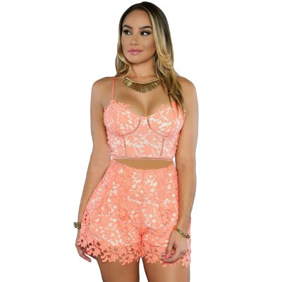Pinkish Orange 2pcs Sexy Women Crop Top Shorts Set
