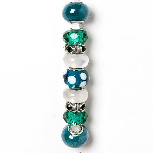 Fashion strung beads, Teal white, 9PC