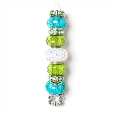 Fashion strung beads, turquoise green, 9PC