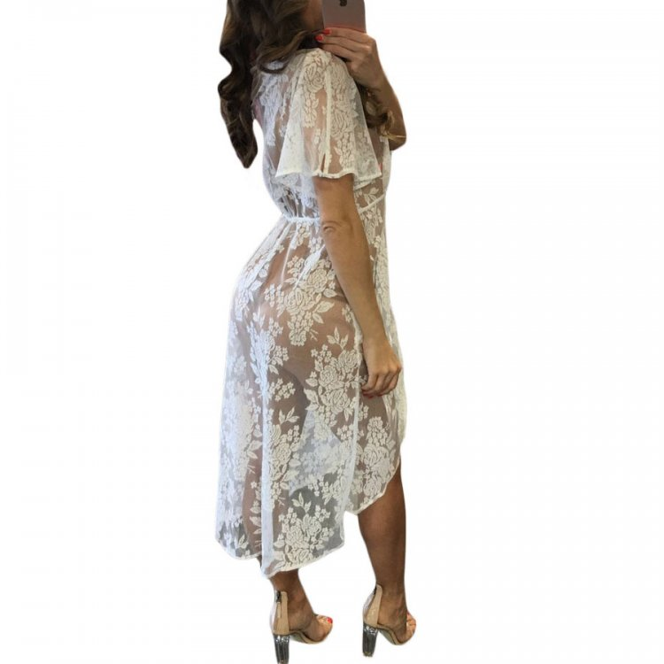 White Sheer Lace Tassel Tie Pily Cover Dress
