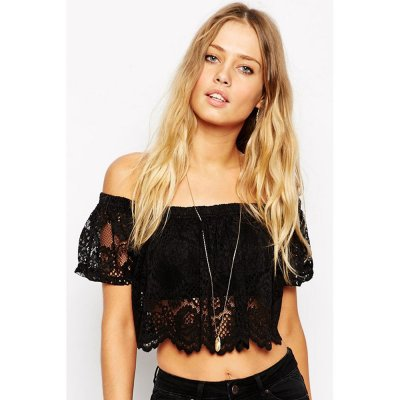 Black Lace Off the Shoulder Crop Top