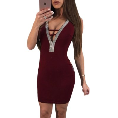 V Neck Hollow-out Silver Trim Wine Bodycon Prom Dress