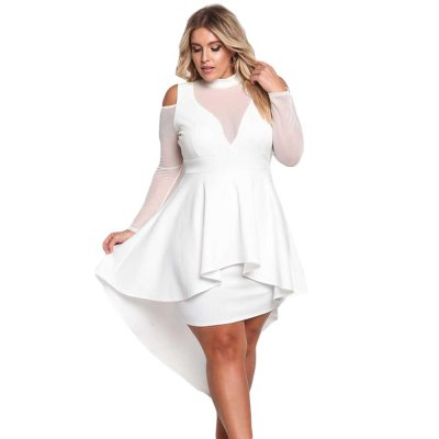 White Sheer Mesh Trim Hi-Lo Peplum Bodycon Dress