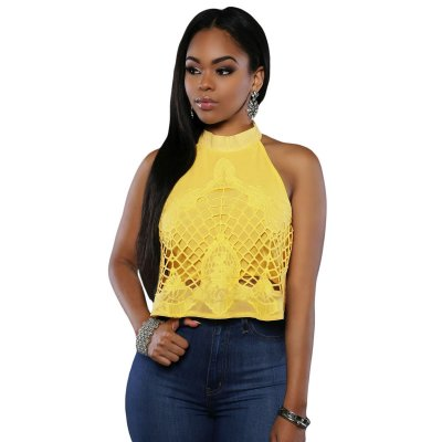 Yellow Embroidered Luxe Crop Top