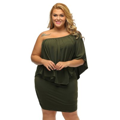 Plus Size Multiple Dressing Layered Army Green Mini Dress