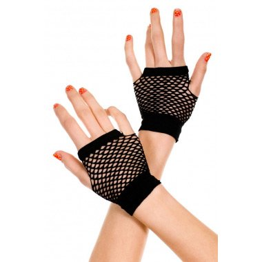 Black Fingerless Net Short Gloves