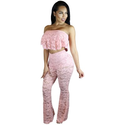 Pink Ruffle Lace Crop Top Wide Leg Pant Set