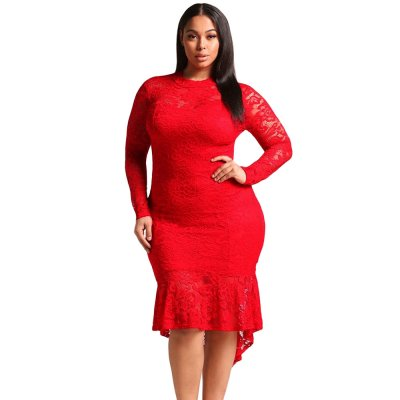 Red Plus Size Floral Lace Hi-Lo Mermaid Dress