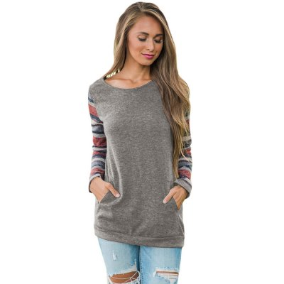 Multicolor Stripes Sleeve Pullover Taupe Sweatshirt