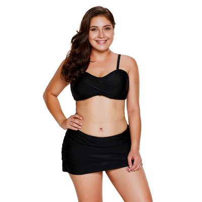 Black Bandeau Bikini 2pcs Skirtini Swimsuit
