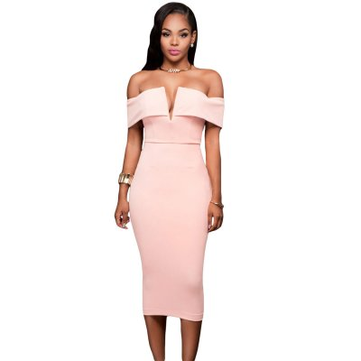 Pink Off-the-shoulder Midi Dress