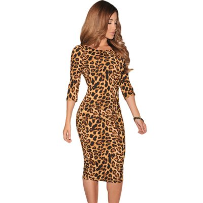 Leopard Print Low V Back Midi Dress