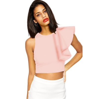 Pink One-shoulder Ruffle Crop Top