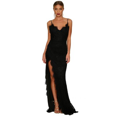 Black Yum Lacy Lace Bridal Wedding Party Gown
