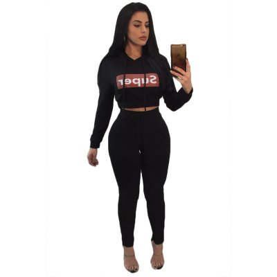 Black Super Hooded Crop Top Skinny Jogger Pant Set