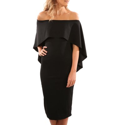Black Luxurious Off Shoulder Batwing Cape Midi Dress