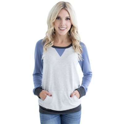 Blue Raglan Sleeve Patch Elbow Sweatshirt Top