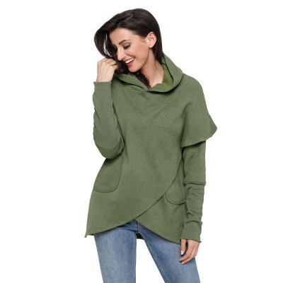 Army Green Tulip Wrap Cape Style Long Sleeve Hoodie