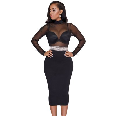 Black Mesh Top Waist Decor Bodycon Midi Dress