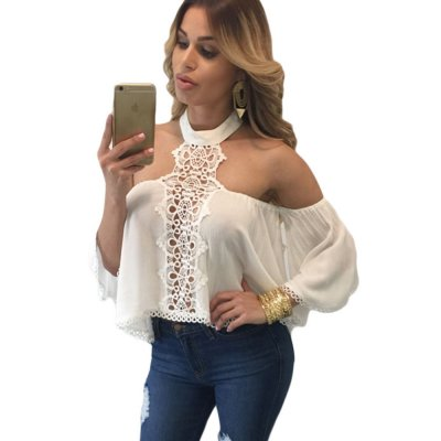 White Chocker Neck Bare Shoulders Flare Crop Top