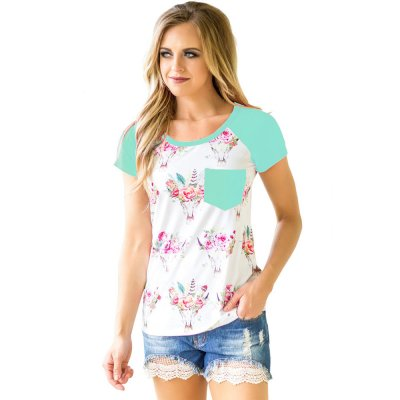 Mint Short Sleeve Pocket Floral Shirt
