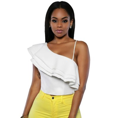 White Ruffle Luxe Crop Top
