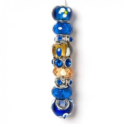 Holiday strung beads, blue and yellow, 9PC