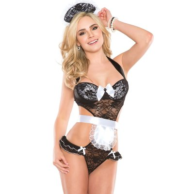 Black Lace Maid Teddy Costume
