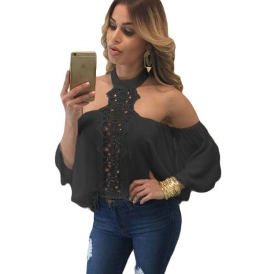Black Chocker Neck Bare Shoulders Flare Crop Top