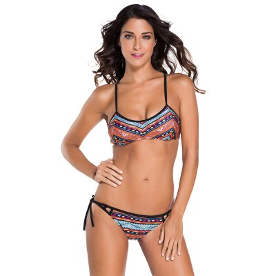 Ethnic Printed Strappy Bikini Swimsuit