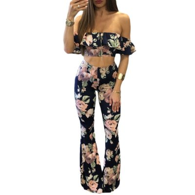 Navy Floral Print Ruffle Crop Top and Pant Set