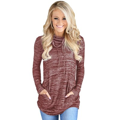 Heather Red Cozy Cowl Neck Drawstring Sweatshirt