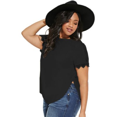 Black Plus Size Crochet-sleeved Top